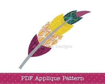 Feather Applique Pattern PDF Feather Applique Template