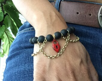Red Heart and Gold Chain Black Matte Bracelet. Heart Bracelet. Rocker Bracelet. Chic. Unique Bracelet. Sugarplum Gallery.