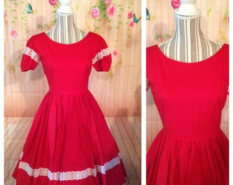 Vintage 50's Red Cotton Dress With Lace Trim