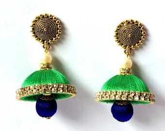 Silk Thread Jhumki Earrings - Indian Thread Earrings/ Indian Jewellery