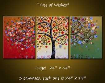 Original Large Abstract Painting Modern Contemporary Trees Landscape / Tree Trip[tych / Extra Large Painting / Large Wall Art