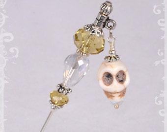"Stone Skull and Yellow Crystal Dangle 3"" Stick Pin - Hat Pin - Scarf Pin KC0146"