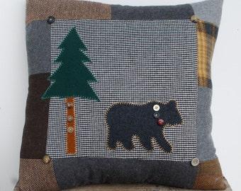 Wool Bear Pillow Lodge Decor Patchwork Cabin