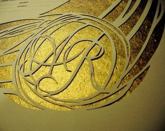Papercut Ketubah with Gold Background and Copperplate calligraphy