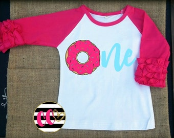 girls donut first birthday ruffle raglan shirt. first birthday. cake smash. icing raglan.donut shirt