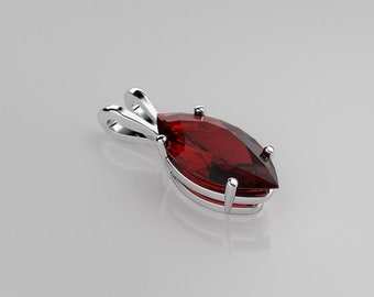 Ruby Necklace Sterling Silver / Ruby Necklace Silver / Ruby Pendant Necklace