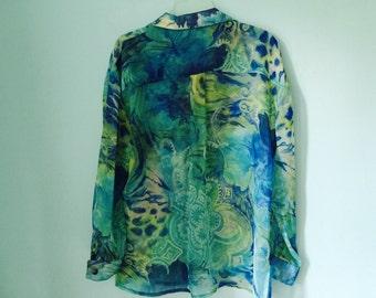 FUNKY ARTSY 70s abstract art Blue/Green swirls Shirt long Sleeves S/Medium/Large  M/L semi transperent BOHO CHic
