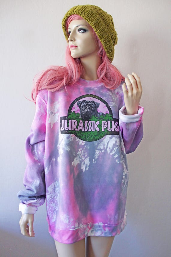 Jurassic Pug Dye Jumper dog hipster tumblr cute gifts for her kawaii pastel goth grunge 90s