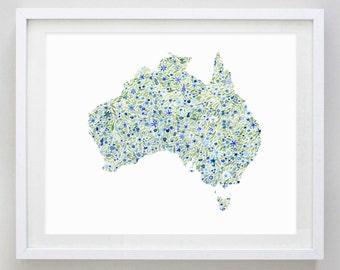 Australia Floral Watercolor Art Print