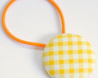 Mustard Plaid Fabric Button Hair Tie