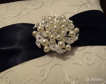 Wedding Ring Pillow, Ring Bearer Pillow, White, Ivory, Navy, Custom