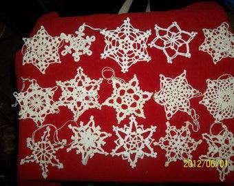 snowflake chrochet christmas ornaments hand made lot of 15