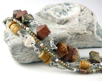 Multi Strand Bracelet, Best Gift for Women, Jasper Jewelry, Cool Jewelry, Silver 925, Nickel Free Jewelry, One of a Kind Jewelry Gift