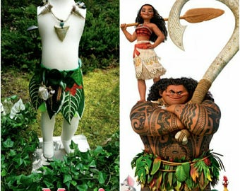Maui Maui outfit Maui dress up costume Maui kids hook Moana and Maui Maui Hawaiian style 1-3 days delivery available child cosplay maui