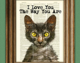 I Love You the Way You Are Lyoki werewolf cat illustration beautifully upcycled dictionary page book art print