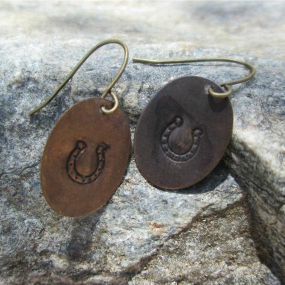 Hand Stamped Brass Copper Horse Shoe Earrings