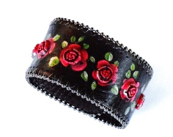 Painted Red Rose Black Leather Boho Cuff Bracelet Bohemian Jewelry FREE SHIPPING