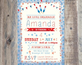 Summer Birthday Invitation, Firework Invitation, Printable PDF or Jpeg