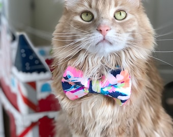 Lilly Pulitzer Inspired Fiesta Olè Bow Tie- Cats and Dogs
