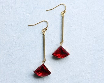 Ruby Red Earrings, Art Deco Earrings, July Birthday Gift, July Birthstone, Garnet Earrings, January Birthstone