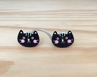 Sweater Pins, Black Cats, Cat Pins, Black Cat Pins, Cat Sweater Pins, Cat Collar Pins, Black Cat Collar Pins, Black Cat Sweater Pins