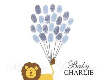 Baby Shower Guest Book Alternative Lion Baby Shower Lion Thumbprint Guestbook Lion Fingerprint Guestbook Lion Baby Shower Thumbprint