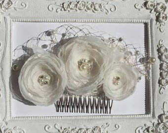Wedding hair clip bridal flower, ivory wedding Elena hairstyle