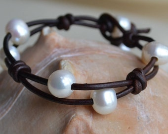 Pearls On Leather Bracelet/Cuff Leather And Pearls Jewelry Boho Bohemian Holiday Gifts For Her Yevga