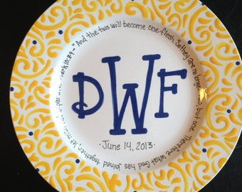 Monogrammed Wedding Plate - Wedding Gift
