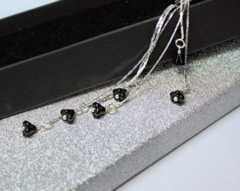 romantic gift for her jet earrings sterling silver jewelry black gift girlfriend elegant earrings gift wife birthday cascade earrings пя2