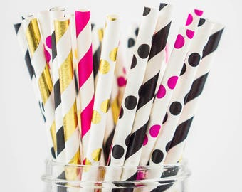 25 kate spade gold straws/ paper straws decoration/ birthday decoration/ tableware straw/ pink and gold paper straw/ foil gold stripe
