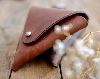 Leather Triangle Coin Pocket / Wallet / Purse / Walnut