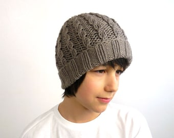 PDF Knitting PATTERN / Printable Knitting INSTRUCTIONS (Not Knitted item) for a Hand Knit Cabled Beanie / Watch Cap. Instant Download pdf