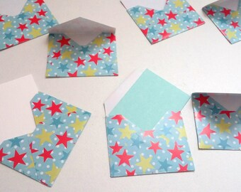 Set of small blue envelopes starred