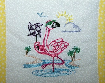 Pink Flamingo Mini Quilt, wire hanger included