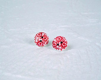 Studs Button Pink flowers