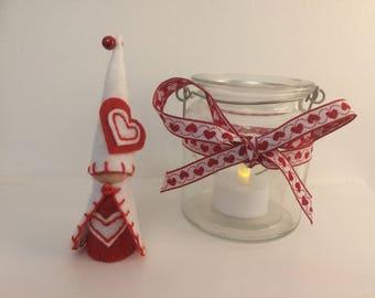 Scandi Valentine Peg Doll Gnome, Waldorf Inspired