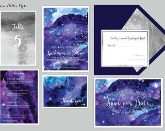 Star/Night Sky Wedding Invitations - Starry Night/Whimsical/Watercolor-Galaxy Invitations - Celestial Wedding - Watercolor Invites/Astronomy