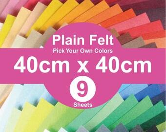 9 Plain Felt Sheets - 40cm x 40cm per sheet - pick your own colors (A40x40)