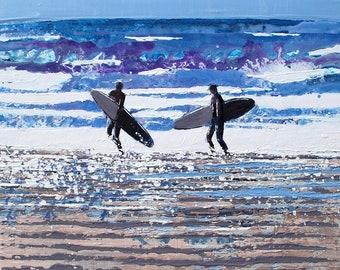 "Waves Wall Art, Waves Artwork, Waves Print, Wave Art, Surfers, Surf Decor ""Roar and Crash of the Shore"" by Melanie McDonald"