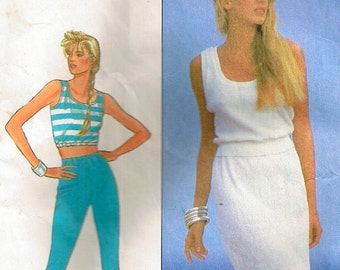 80s Sewing Pattern Cropped Top Skirt and Pants for Knit Fabrics Simplicity 8126 4 sizes