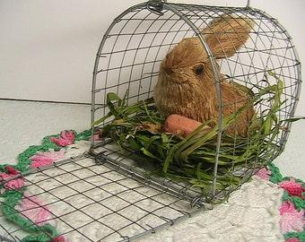 Easter, Easter Rabbit in Metal Cage, Vintage Easter Decor, Little Bunny Rabbit