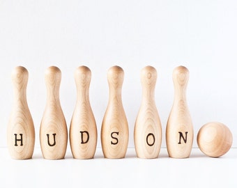 Personalized Wood Bowling Set - Personalized Wood Bowling Game - Custom Childrens Bowling Toy - Toddlers Bowling Set - Wood Toy - Montessori