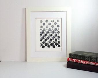 Black, Grey and White minimal linocut art 9x12 limited edition