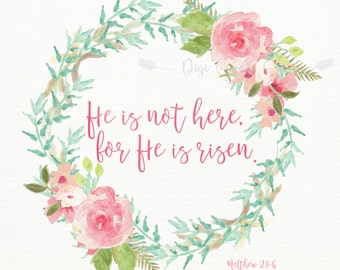 He is Risen Print | Easter Print | Christian Print | 8x10 | Instant Download