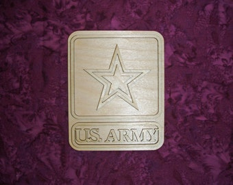 """US Army Wooden Cut Out Unfinished Wood Crafts 4"""" x 5"""" inch"""