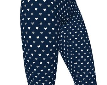 XU Xavier Blue & Silver, Hearts Pattern High Waist Women's Yoga Pants