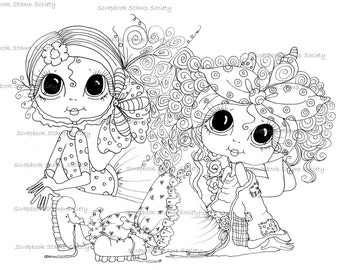 INSTANT DOWNLOAD digitale Digi Stamps Big Eye Big hoofd poppen Digi de meisjes Besties door Sherri Baldy