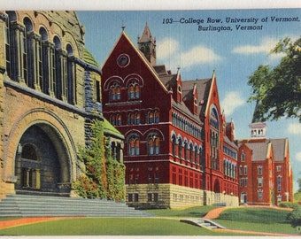 University of Vermont, Vintage postcard, College Row,  Burlington VT, Linen postcard, 1940's