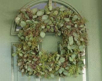 "Seeded Eucalyptus Wreath - 18 "" Squared"